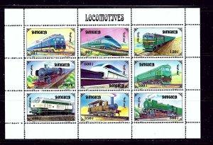 Mongolia 2255 MNH 1997 Locomotives sheet of 9