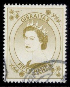 GIBRALTAR QEII SG868, 1999 50p bistre, FINE USED.