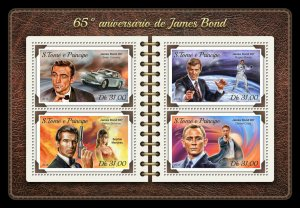 Sao Tome & Principe James Bond Stamps 2018 MNH Cars Roger Moore Film 4v M/S