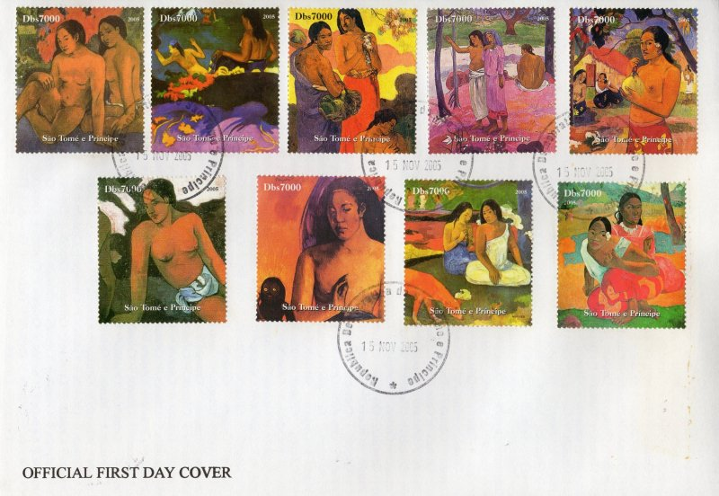 Sao Tome and Principe 2005 PAUL GAUGUIN PAINTINGS Set (9) Perforated FDC