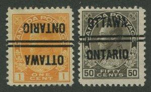 CANADA PRECANCEL OTTAWA 3-105-I, 3-120a