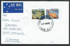 AUSTRALIA 1986 airmail cover to Germany - 85c & 25c Fish...................12863