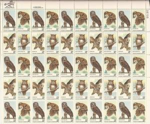 US Stamp - 1978 Wildlife Conservation - Owls - 50 Stamp Sheet #1760-3