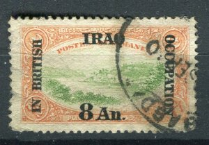 IRAQ; 1918 early British Occupation Optd. issue used 8a. value
