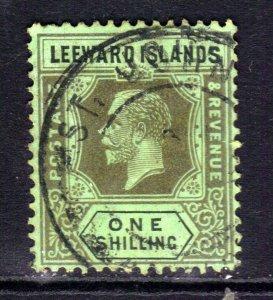 Leeward Islands 1921 - 32 KGV 1/-d Emerald & Black used SG 73 ( C98 )