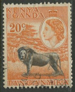 Kenya & Uganda - Scott 107 - QEII Definitive -1955 - Used - Single 20c Stamp