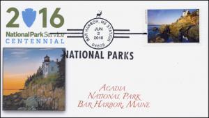 2016, National Parks, Centennial, Acadia NP, BW Postmark, Bar Harbor ME. 16-170
