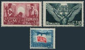 Romania B374-C375,C31,mint hinged,Mi 1090-1092. 2nd Trade Union Conference,1947.