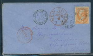 #163 FINE 1877 COVER TO CAPE OF GOOD HOPE, SO. AFRICA W/ BLACK & RED CNLS BU7988