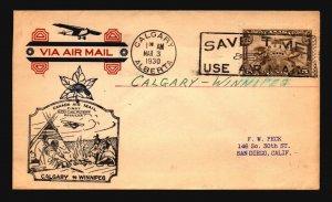 Canada 1930 FFC Calgary to Winnipeg - L2093