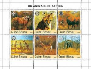 GUINEA BISSAU 2003 SHEET WILD CATS FELINES ELEPHANTS ANTELOPES GIRAFFES