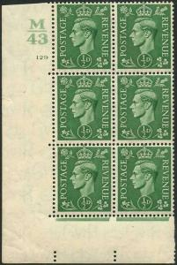 KGVI 1/2d Pale Green With Marginal Rule Cylinder M43 129 No Dot (E/I) M/M