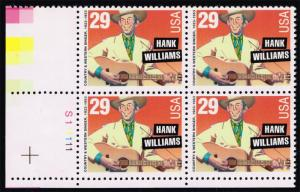 US #2723 Hank Williams P# Block of 4; MNH (4.25)