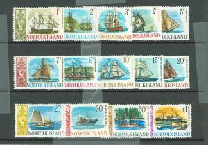 Norfolk Island 1968 Scott 100-113 Ships MNH, 104-107 LH