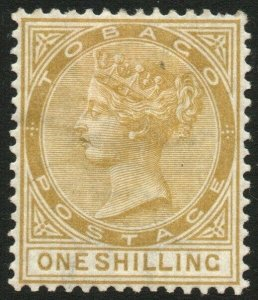 TOBAGO-1880 1/- Yellow-Ochre Sg 12 AVERAGE MOUNTED MINT V48448