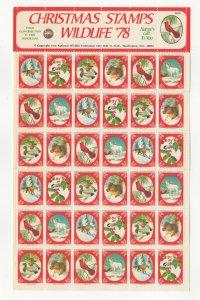 USA National Wildlife Federation Christmas Stamps 1978 Sheet of 36 MNH