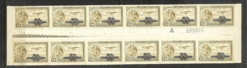 MEXICO Sc#C49 Gutter Block Strip of 12 stamps MINT NEVER HINGED