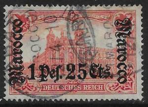 GERMAN P.O.'S IN MOROCCO SG48 1906 1p25 ON 1m CARMINE USED