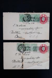 Great Britain Lot of 2 Early Covers with 3 Stamps Affixed