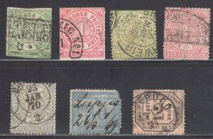 Germany (North German Confederation) #2, 4, 14, 16, 17, 26 and #O1 Used -