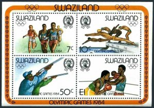 Swaziland 456a sheet,lightly hinged. Olympics Los Angeles-1984.Swimming,Shooting