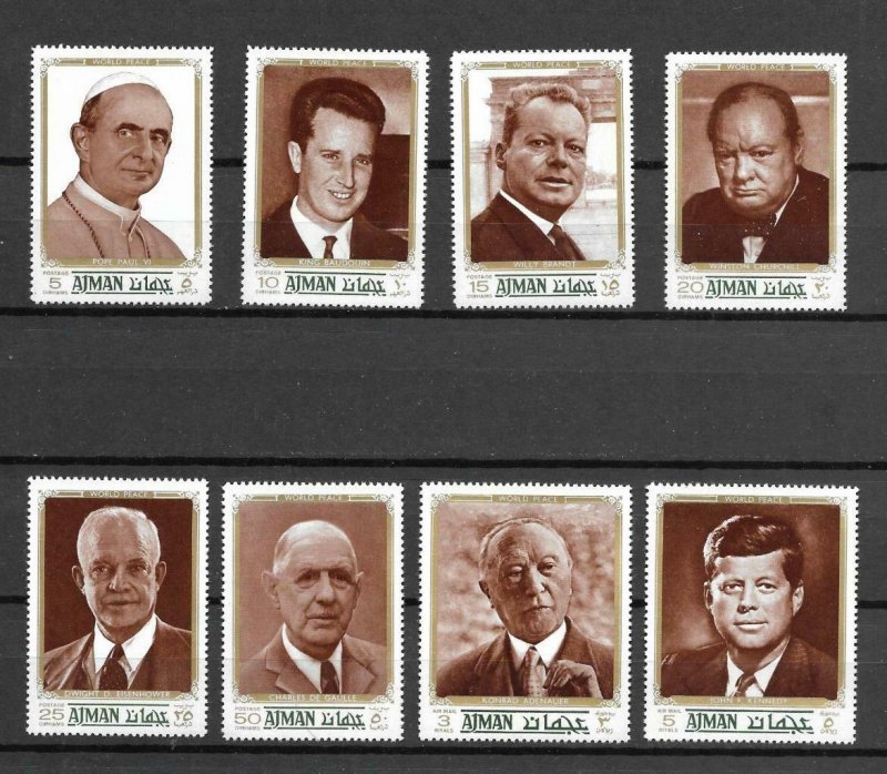 Ajman MNH Set Of 8 Famous People