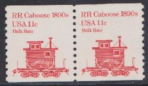 1905 RR Caboose F-VF MNH transportation coil pair