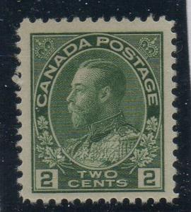 Canada Sc 107 1922 2 c yellow green GV Admiral stamp mint NH