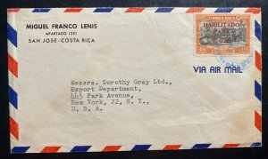 1949 San Jose Costa Rica Airmail Cover To Dorothy Gray New York USA