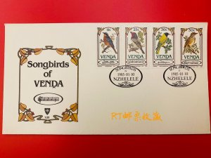 SOUTH AFRICA Venda 1985 FDC Songbirds Animals Fauna Nature Bird Oriolus Stamps