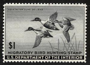 US Sc RW12 $1.00 1945 MNH OG XF Federal Duck Hunting Permit Stamp