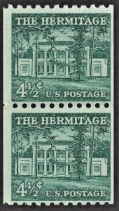 US 1059 MNH F/VF 4-1/2 Cent The Hermitage Coil Pair