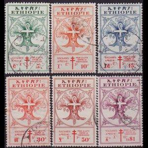 ETHIOPIA 1951 - Scott# B21-6 Anti-TB Set of 6 Used