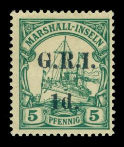 German Colonies - NEW BRITAIN G.R.I. Marshall Is 1d/5pf green Sc# 31 mint MH VF
