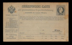 Austria 1870s 10KR Pneumatic Express Postal Card Unused - L11305
