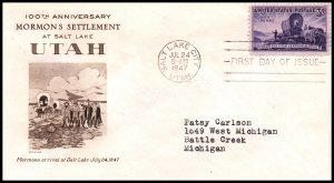 US 950 Utah Settlement Grimsland Typed FDC