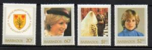 Barbados Sc 585-8 1982 Princess Diana stamp set mint NH