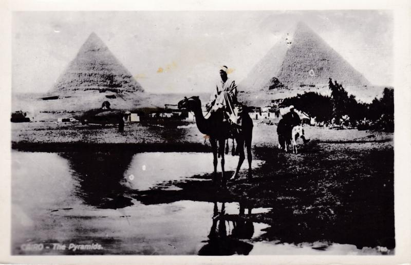 Egypt 1963 REAL PHOTO View Card Cairo-The Pyramids Censored to Michigan F/VF