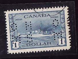 Canada-Sc#O262- id5-used$1.00 Destroyer-Ships-4 hole OHMS-1942-