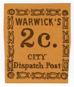 (I.B) US Local Post : Warwick's City Dispatch 2c