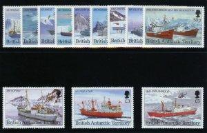 British Antarctic Territory 1993 Antarctic Ships set complete MNH. SG 218-229.