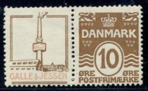 DENMARK (RE43) 10ore brown, GALLE & JESSEN advertising pair, og, LH