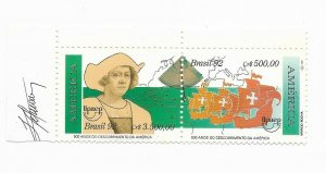 BRAZIL 1991 500TH ANNIV OF DISCOVERY OF AMERICA COLOMBUS SHIPS PAIR MNH