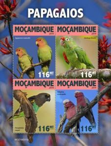 MOZAMBIQUE - 2019 - Parrots - Perf 4v Sheet - MNH