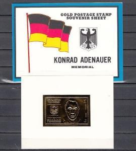Sharjah, Mi cat. 544, BL52. Konrad Adenauer Gold Foil s/sheet in Folder. ^