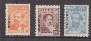 ARGENTINA, 1938-1939 Portraits, 8c., 10c. & 20c., MUESTRA, lhm.