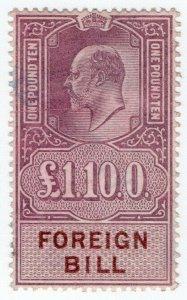 (I.B) Edward VII Revenue : Foreign Bill £1 10/-