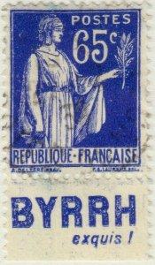 FRANCE - 1937 Pub BYRRH (exquis!) inférieure sur Yv.365b 65c Paix - obl. TB