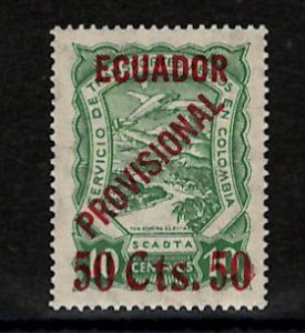 Ecuador Scott #C6 50 its 50 on 10c Green  APEX Cert 235105 Superb, MOGnh