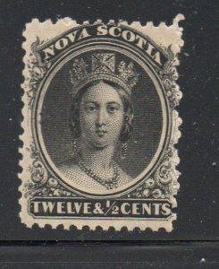 Nova Scotia Sc 13 1860 12 1/2c black Victoria stamp mint